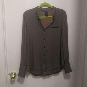 Vera Wang Collection Grey Silk Button Down Blouse
